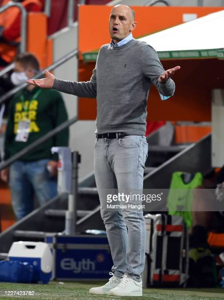 Head coach Heiko Herrlich of Augsburg reacts during the Bundesliga match between FC Augsburg and SC Paderborn 07 at WWKArena on May 27 2020 in...