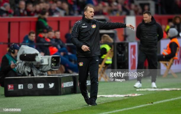 Head coach Heiko Herrlich of Bayer 04 Leverkusen gestures during the Bundesliga match between Bayer 04 Leverkusen and Hertha BSC at BayArena on...