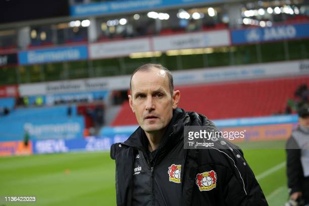 Head coach Heiko Herrlich of Bayer Leverkusen looks on during the Bundesliga match between Bayer 04 Leverkusen and FC Augsburg at the BayArena on...