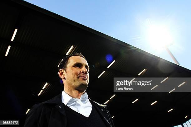 Head coach Heiko Herrlich of Bochum is seen prior to the Bundesliga match between VfL Bochum and VfB Stuttgart at Rewirpower Stadium on April 23,...