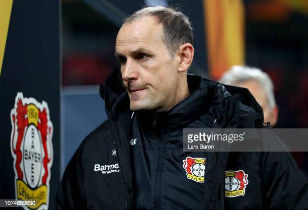 Head coach Heiko Herrlich of Leverkusen is seen during the UEFA Europa League Group A match between Bayer 04 Leverkusen and Ludogorets at BayArena on...