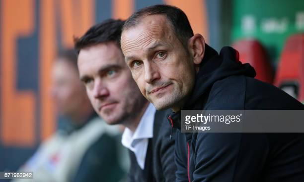 Head coach Heiko Herrlich of Leverkusen looks on during the Bundesliga match between FC Augsburg and Bayer 04 Leverkusen at WWK-Arena on November 4,...