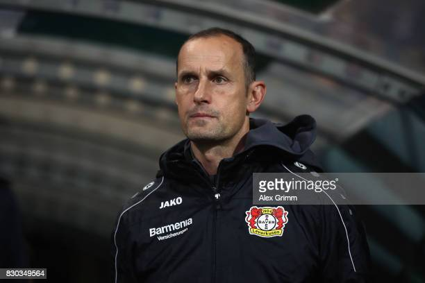 Head coach Heiko Herrlich of Leverkusen looks on prior to the DFB Cup first round match between Karlsruher SC and Bayer Leverkusen at Wildparkstadion...