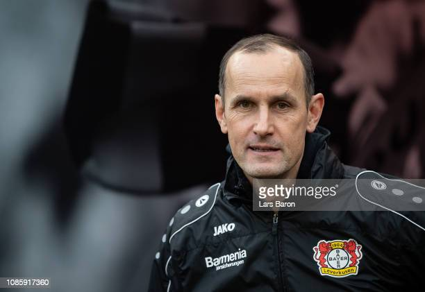 Head coach Heiko Herrlich of Leverkusen looks on prior to the Bundesliga match between Bayer 04 Leverkusen and Hertha BSC at BayArena on December 22,...