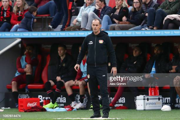 Head coach Heiko Herrlich of Leverkusen reacts during the Bundesliga match between Bayer 04 Leverkusen and Hannover 96 at BayArena on October 20 2018...