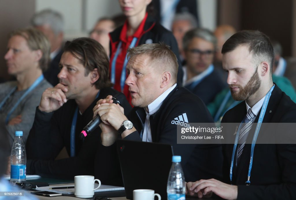 Head Coach Heimir Hellgrimsson of Iceland in the Technical Workshop during Day 2 of the 2018 FIFA World Cup Russia Team Workshop on February 28, 2018 in Sochi, Russia.