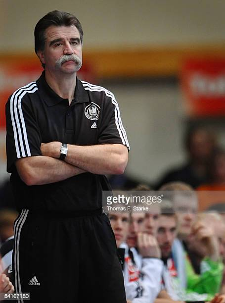 Head coach Heiner Brand of Germany looks on during the International Handball Friendly match between Germany and Greece at the RothenbachHalle on...
