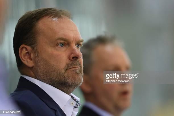 Head Coach Heinz Ehlers of Denmark during the Austria v Denmark - Ice Hockey International Friendly at Erste Bank Arena on May 5, 2019 in Vienna,...