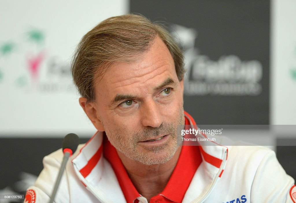 Head coach Heinz Guenthardt of team Switzerland attends a press conference prior to the Fed Cup match against Germany at Messe Leipzig on February 3, 2016 in Leipzig, Germany.
