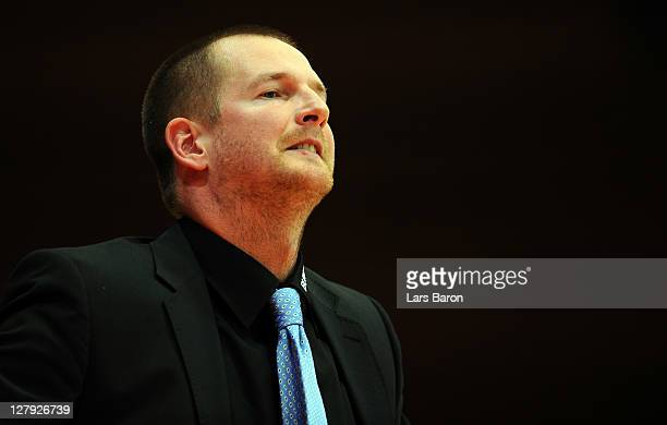 Head coach Henrik Roedl of Trier looks on during the Beko BBL Bundesliga match between s Oliver Baskets and TBB Trier at s Oliver Arena on October 3...