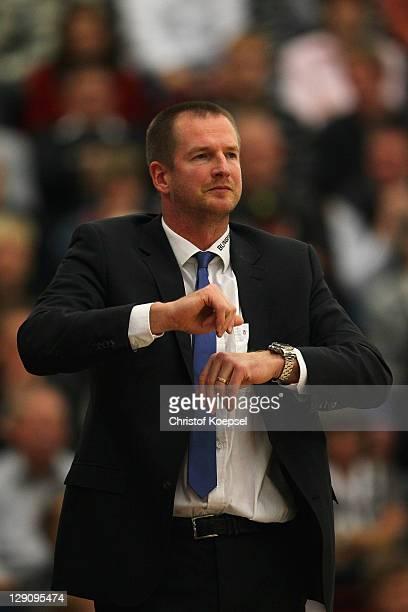 Head coach Henrik Roedl of Trier reacts during the Basketball Bundesliga match between Artland Dragons Quakenbrueck and TBB Trier at the Artland...