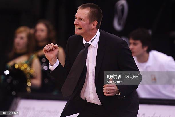 Head coach Henrik Roedl of Trier reacts during the Beko Basketball match between TBB Trier and Ratiopharm Ulm at the Arena on November 28 2010 in...