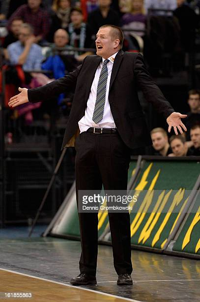 Head coach Henrik Roedl of Trier reacts during the Beko BBL Basketball Bundesliga match between TBB Trier and Brose Baskets on February 17 2013 in...