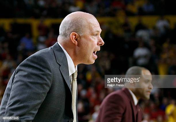 Head coach Herb Sendek of the Arizona State Sun Devils calls out instructions from the bench during the second half of a college basketball game...
