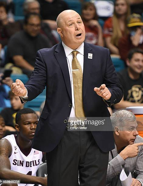 Head coach Herb Sendek of the Arizona State Sun Devils gestures to his players during a firstround game of the Pac12 Basketball Tournament against...
