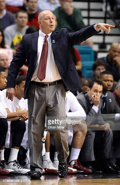 Head coach Herb Sendek of the Arizona State Sun Devils gestures to his players during a quarterfinal game of the Pac12 Basketball Tournament against...