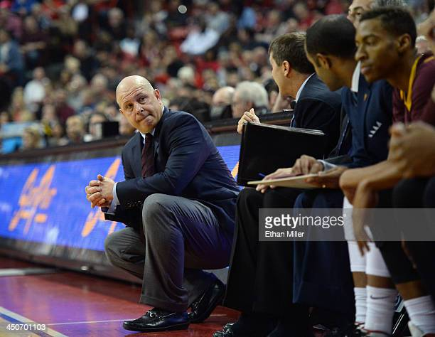 Head coach Herb Sendek of the Arizona State Sun Devils looks at his bench during a game against the UNLV Rebels at the Thomas Mack Center on November...