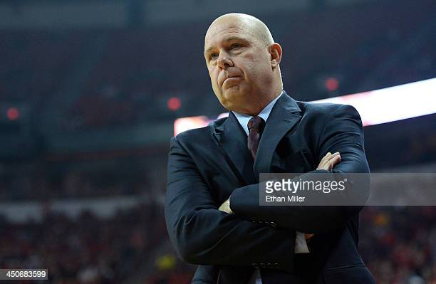 Head coach Herb Sendek of the Arizona State Sun Devils looks on during a game against the UNLV Rebels at the Thomas Mack Center on November 19 2013...