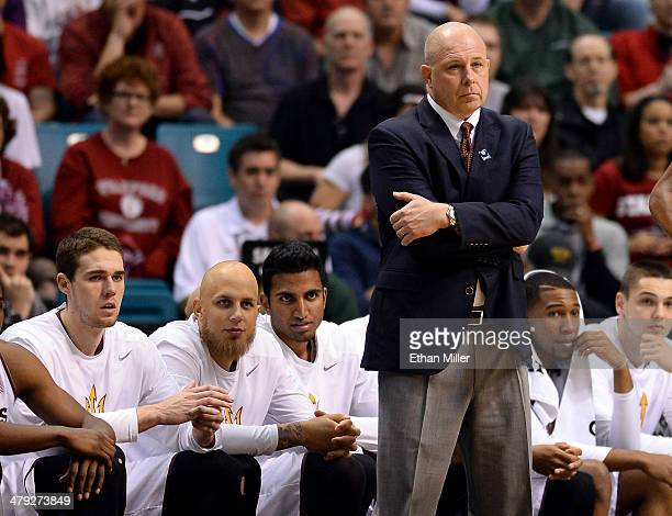 Head coach Herb Sendek of the Arizona State Sun Devils looks on during a quarterfinal game of the Pac12 Basketball Tournament against the Stanford...