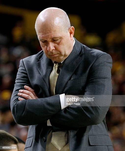 Head coach Herb Sendek of the Arizona State Sun Devils paces the bench area during the second half of a college basketball game against the Arizona...