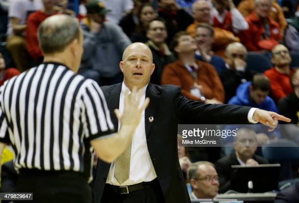 Head coach Herb Sendek of the Arizona State Sun Devils reacts after a foul was called in the second half against the Texas Longhorns during the...