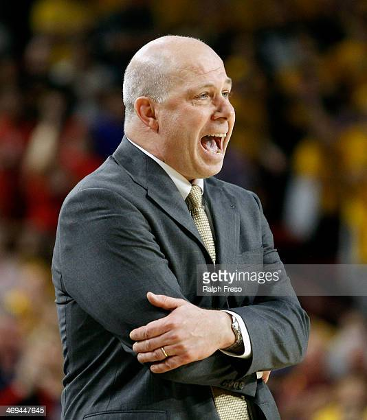 Head coach Herb Sendek of the Arizona State Sun Devils reacts to a foul noncall against the Arizona Wildcats during the second half of a college...
