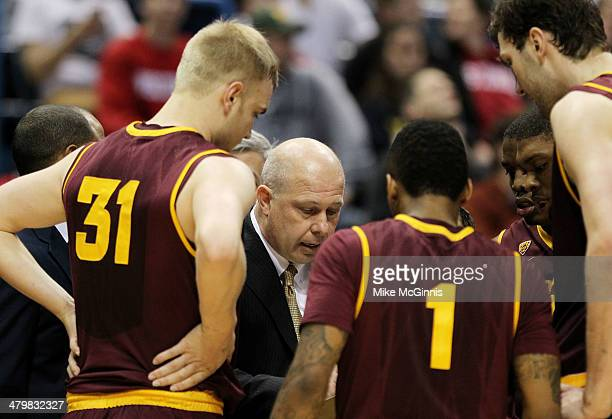 Head coach Herb Sendek of the Arizona State Sun Devils talks ot his team in the second half against the Texas Longhorns during the second round of...