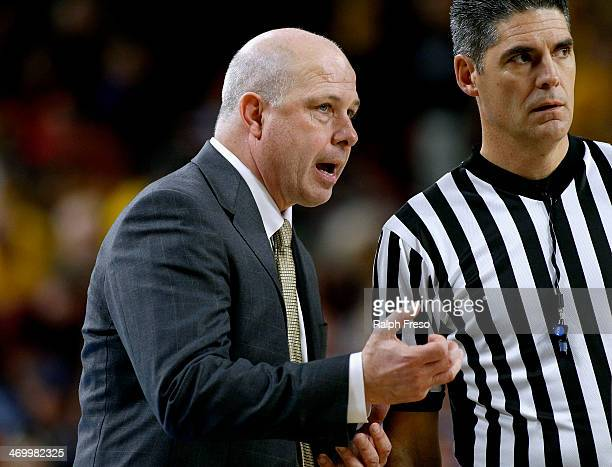 Head coach Herb Sendek of the Arizona State Sun Devils talks with an official during the second half of a college basketball game against the Arizona...