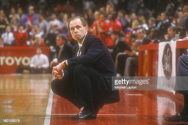 Head coach Herb Sendek of the North Carolina State Wolfpack looks on during a college basketball game against the Maryland Terrapins at Cole FIeld...