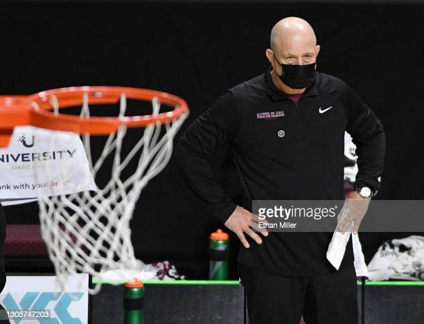 Head coach Herb Sendek of the Santa Clara Broncos looks on during his team's game against the Pepperdine Waves during the West Coast Conference...