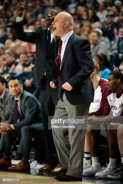 Head coach Herb Sendek of the Santa Clara Broncos works from the sideline in the first half against the Gonzaga Bulldogs at McCarthey Athletic Center...