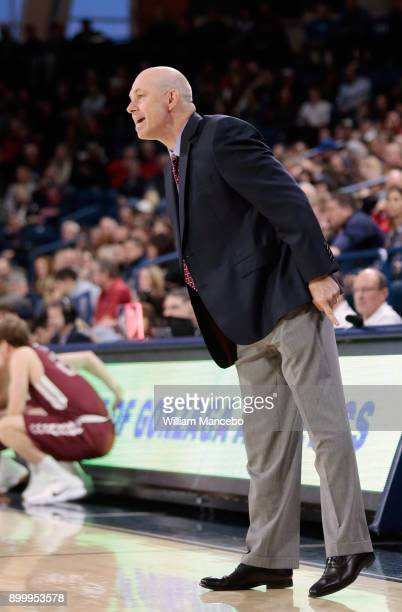 Head coach Herb Sendek of the Santa Clara Broncos works from the sideline in the game against the Gonzaga Bulldogs at McCarthey Athletic Center on...