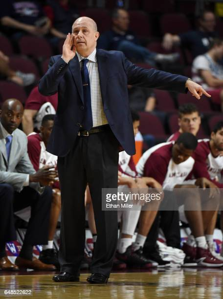 Head coach Herb Sendek of the Santa Clara Broncos yells to his players during a quarterfinal game of the West Coast Conference Basketball Tournament...