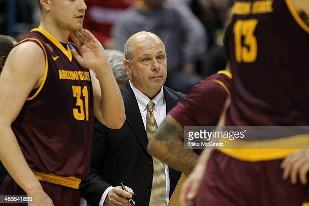 Head Coach Herb Sendek of the Texas Longhorns stands on the sidelines in the second half of play against the Arizona State Sun Devils during the game...