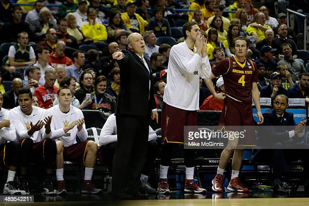 Head Coach Herb Sendek of the Texas Longhorns stands on the sidelines in the first half of play against the Arizona State Sun Devils during the game...
