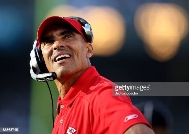 Head coach Herm Edwards of the Kansas City Chiefs looks on against the Oakland Raiders during an NFL game on November 30 2008 at the OaklandAlameda...