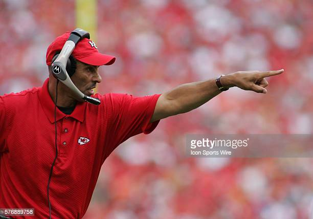 Head Coach Herm Edwards of the Kansas City Chiefs relays words to his players at the Bengals 2310 victory over the Chiefs at Arrowhead Stadium in...