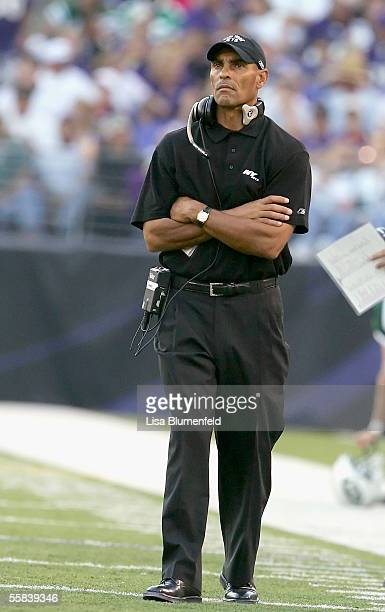 Head coach Herm Edwards of the New York Jets looks on from the sideline during the game against the Baltimore Ravens on October 2, 2005 at M&T Bank...