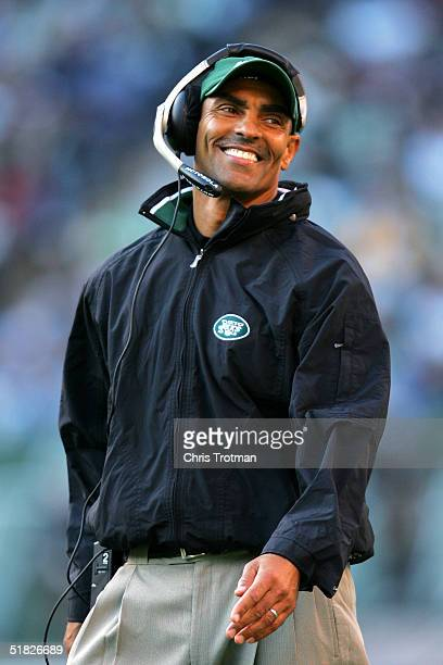 Head coach Herman Edwards of the New York Jets on the sideline as his team defeated the Houston Texans at Giants Stadium December 5 2004 in East...
