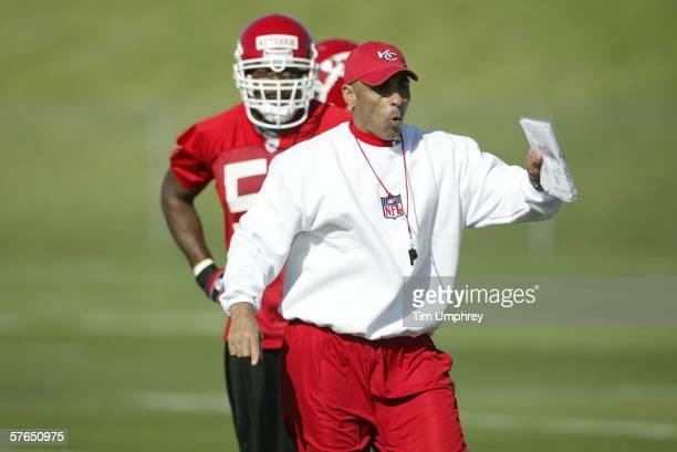 Head coach Herman Edwards runs drills during the Kansas City Chiefs Mini Camp on May 12, 2006 at the Kansas City Chiefs Training Facility in Kansas...