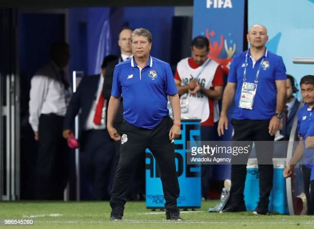 Head coach Hernan Dario Gomez of Panama looks on during the 2018 FIFA World Cup Russia Group G match between Panama and Tunisia at the Mordovia Arena...