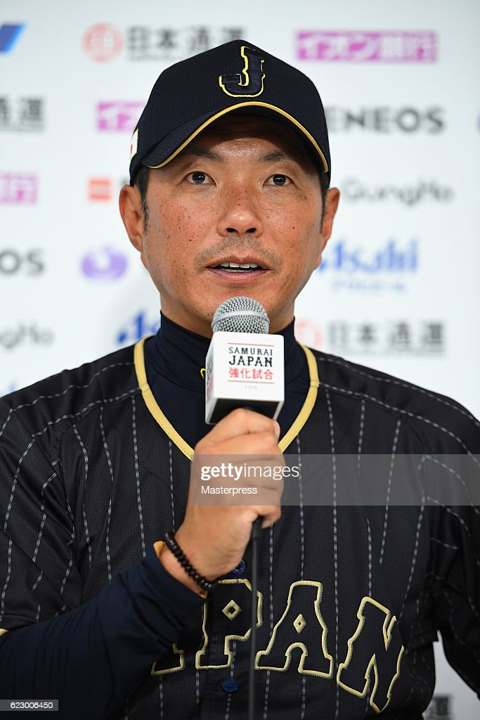 Head coach Hiroki Kokubo #90 of Japan speaks during a press conference after the international friendly match between Netherlands and Japan at the Tokyo Dome on November 13, 2016 in Tokyo, Japan.
