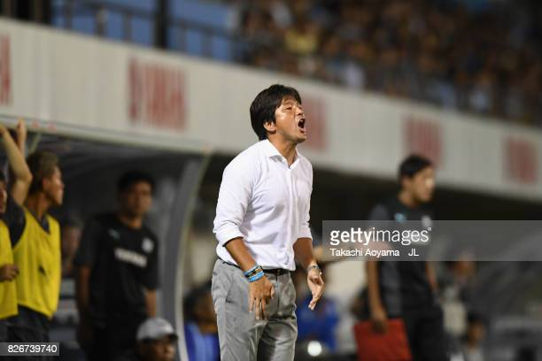 Head coach Hiroshi Nanami of Jubilo Iwata looks on during the JLeague J1 match between Jubilo Iwata and Sanfrecce Hiroshima at Yamaha Stadium on...