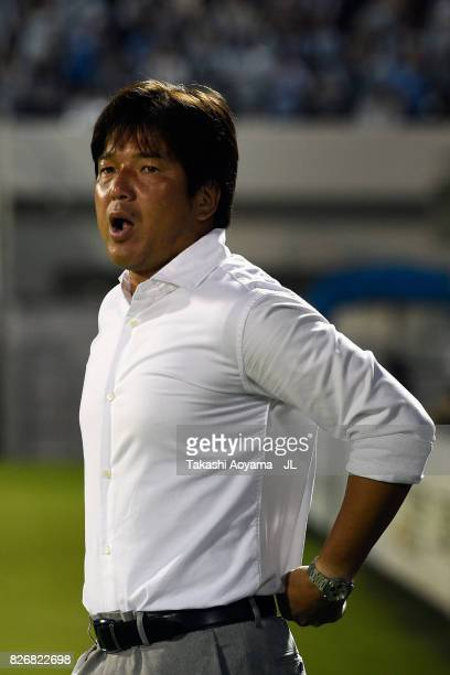 Head coach Hiroshi Nanami of Jubilo Iwata looks on prior to the JLeague J1 match between Jubilo Iwata and Sanfrecce Hiroshima at Yamaha Stadium on...