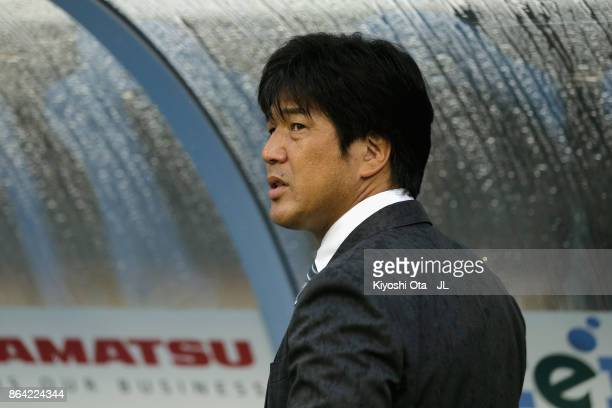 Head coach Hiroshi Nanami of Jubilo Iwata looks on prior to the JLeague J1 match between Jubilo Iwata and Albirex Niigata at Yamaha Stadium on...