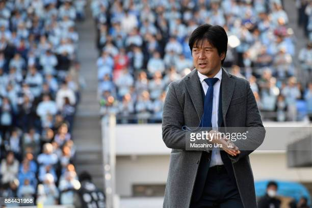 Head coach Hiroshi Nanami of Jubilo Iwata looks on prior to the JLeague J1 match between Jubilo Iwata and Kashima Antlers at Yamaha Stadium on...