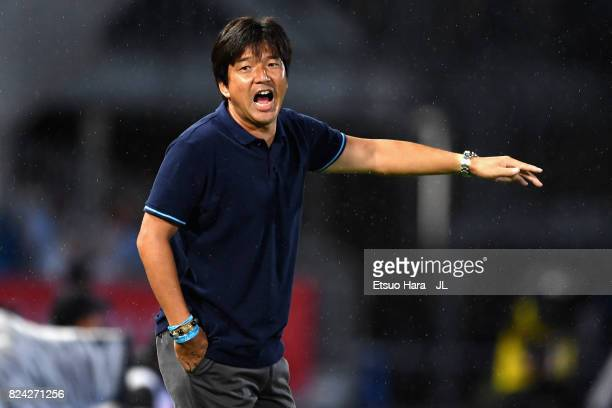 Head coach Hiroshi Nanami of Jubilo Iwata shouts instrustion during the JLeague J1 match between Kawasaki Frontale and Jubilo Iwata at Todoroki...