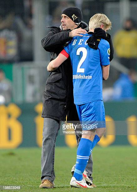 Head coach Holger Stanislawski and Andreas Beck of Hoffenheim looks dejected after loosing the DFB Cup Quarter Final match between TSG 1899...