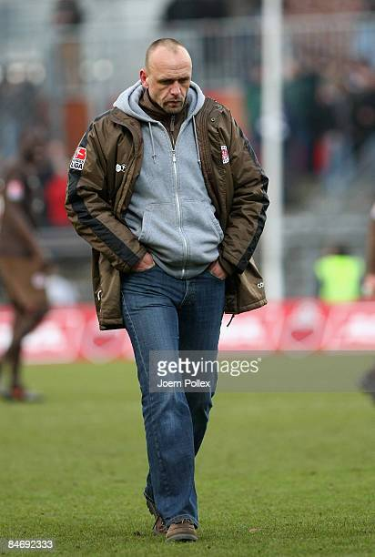 Head coach Holger Stanislawski looks on after the 2. Bundesliga match between FC St. Pauli and SpVgg Greuther Fuerthg at the Millerntor stadium on...