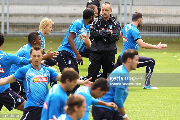 Head coach Holger Stanislawski of TSG 1899 Hoffenheim looks on during a training session at the DietmarHopp Stadion on June 22 2011 in Hoffenheim...